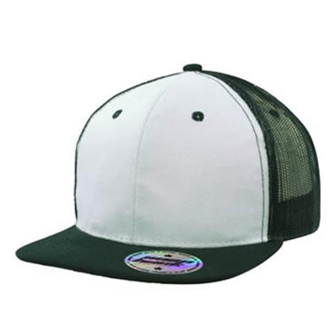 3816 6 Panel Premium American Twill/Mesh cap with flat peak