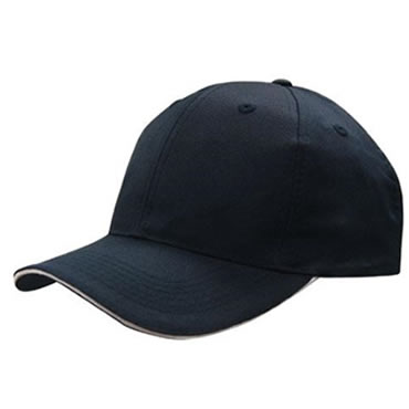 4009 6 Panel Breathable Poly Twill Cap with Sandwich Trim