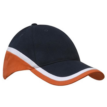 4026 6 Panel Brushed Heavy Cotton Tri-Coloured Cap