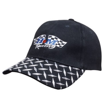 4044 Brushed Heavy Cotton Cap With Checker Plates On Peak
