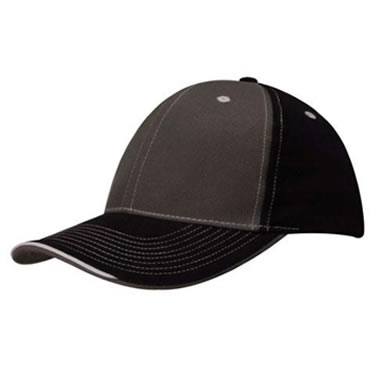 4053 6 Panel Brushed Heavy Cotton 2 Tone Cap with contrast stitching and open lip sandwich