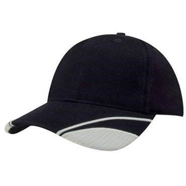 4058 Brushed Heavy Cotton Cap With Peak Mesh Inserts