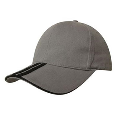 4074 Brushed Heavy Cotton Cap with 2 striped peak & sandwich