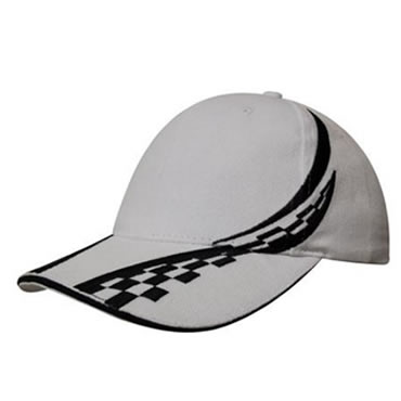 4076 Brushed Heavy Cotton Cap with swirling checks & sandwich