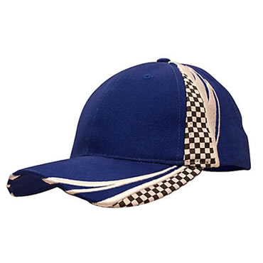 4083 Brushed Heavy Cotton Cap with Embroidery & Printed Checks