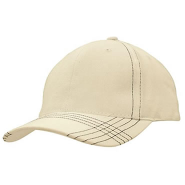 4086 Brushed Heavy Cotton Cap with Contrast Cross Stitching on Peak