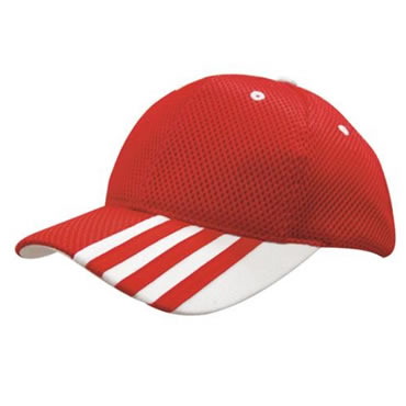 4109 6 Panel Sandwich Mesh Cap with Stripes