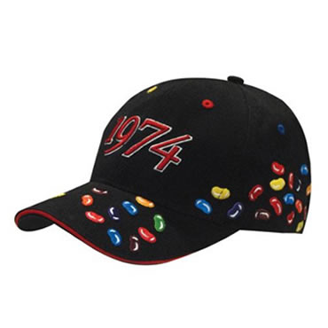 4119 6 Panel Brushed Heavy Cotton cap with Jelly Beans Embroidery