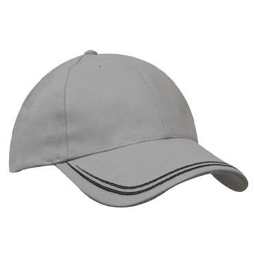 4163 Brushed Heavy Cotton Sports Twill Cap With Double Stripe