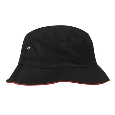 4223 Heavy Brushed Cotton Bucket Hat With Sandwich Trim